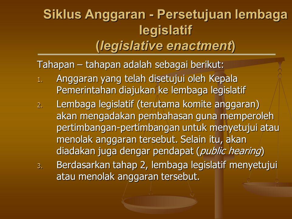 Siklus Anggaran - Persetujuan lembaga legislatif (legislative enactment) Tahapan – tahapan adalah sebagai berikut: 1. Anggaran yang telah disetujui ol