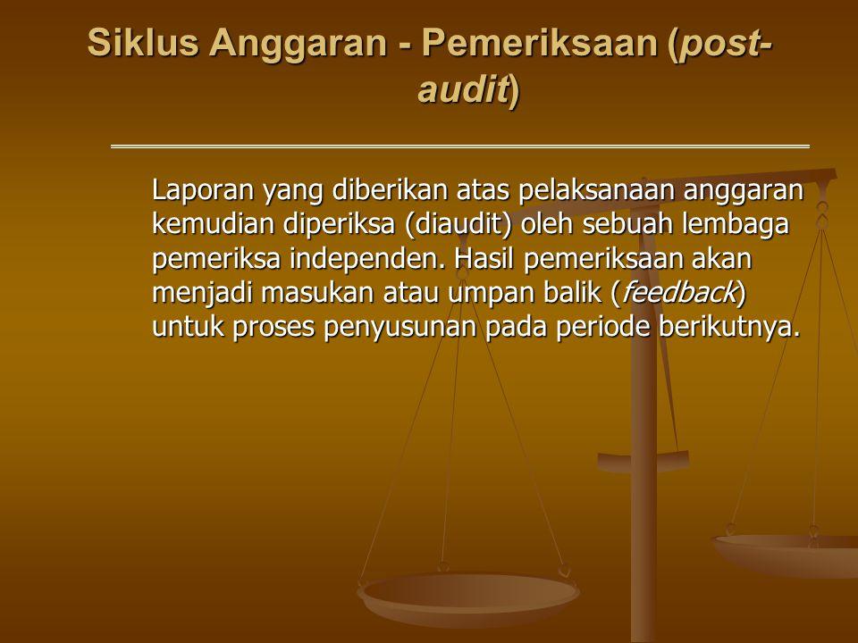 Siklus Anggaran - Pemeriksaan (post- audit) Laporan yang diberikan atas pelaksanaan anggaran kemudian diperiksa (diaudit) oleh sebuah lembaga pemeriks