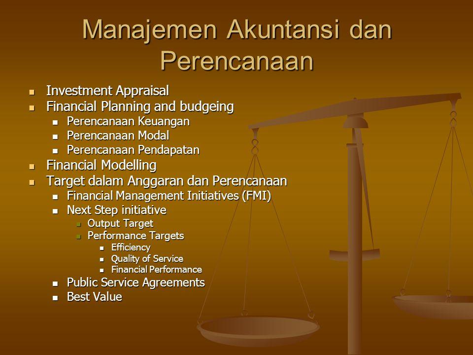 Manajemen Akuntansi dan Perencanaan Investment Appraisal Investment Appraisal Financial Planning and budgeing Financial Planning and budgeing Perencan