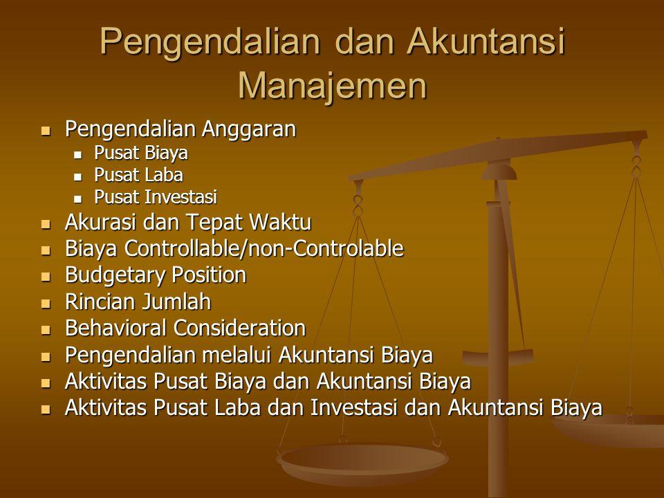 Pengendalian dan Akuntansi Manajemen Pengendalian Anggaran Pengendalian Anggaran Pusat Biaya Pusat Biaya Pusat Laba Pusat Laba Pusat Investasi Pusat I