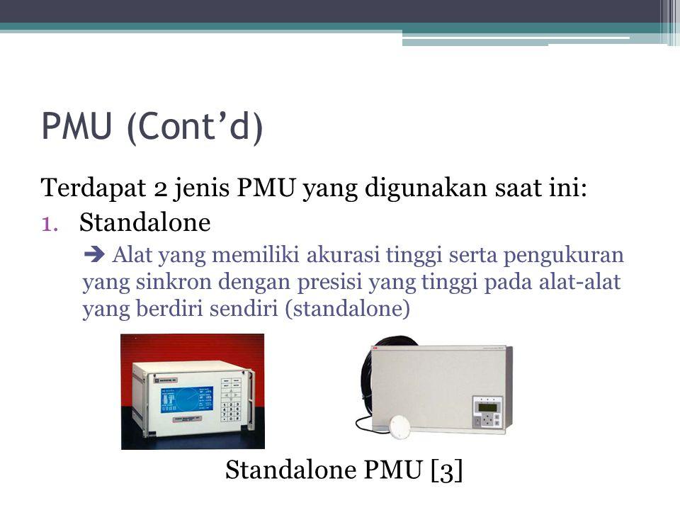PMU (Cont'd) Standalone PMU [3] Terdapat 2 jenis PMU yang digunakan saat ini: 1.Standalone  Alat yang memiliki akurasi tinggi serta pengukuran yang sinkron dengan presisi yang tinggi pada alat-alat yang berdiri sendiri (standalone)