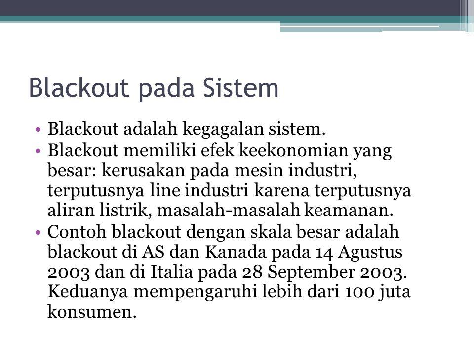 Blackout pada Sistem Blackout adalah kegagalan sistem. Blackout memiliki efek keekonomian yang besar: kerusakan pada mesin industri, terputusnya line