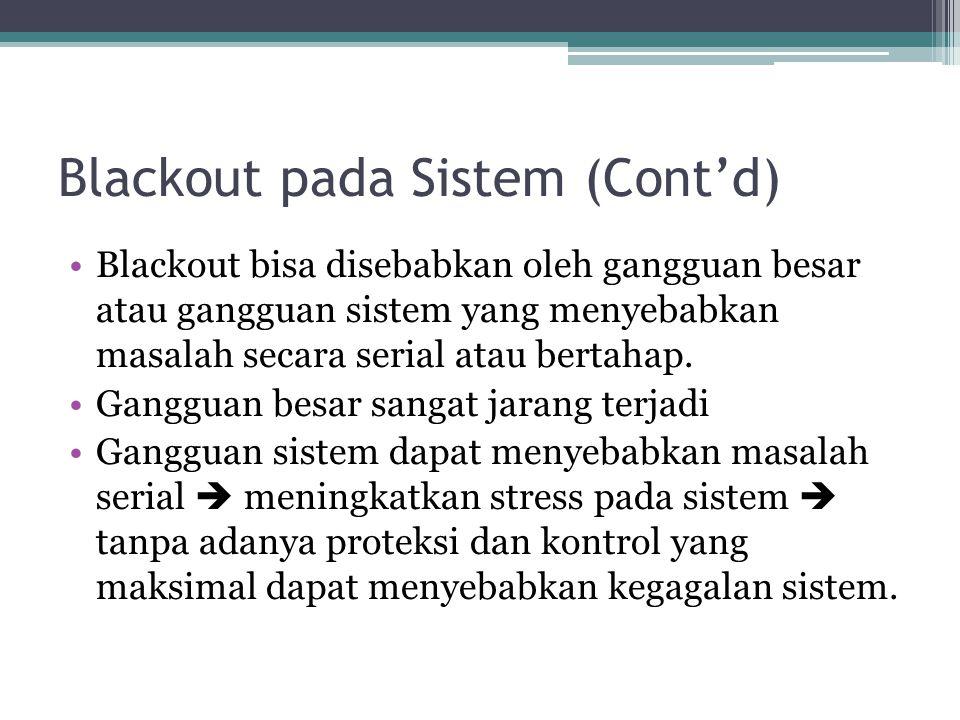 Blackout pada Sistem (Cont'd) Blackout bisa disebabkan oleh gangguan besar atau gangguan sistem yang menyebabkan masalah secara serial atau bertahap.
