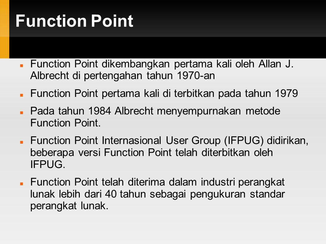 Function Point – Contoh - Biaya Proyek Software dalam pengelolahan Sistem Informasi Sumber Daya Manusia adalah 1015.3 FP dengan Tarif Rupiah/FP untuk jenis Sistem Informasi adalah Rp.