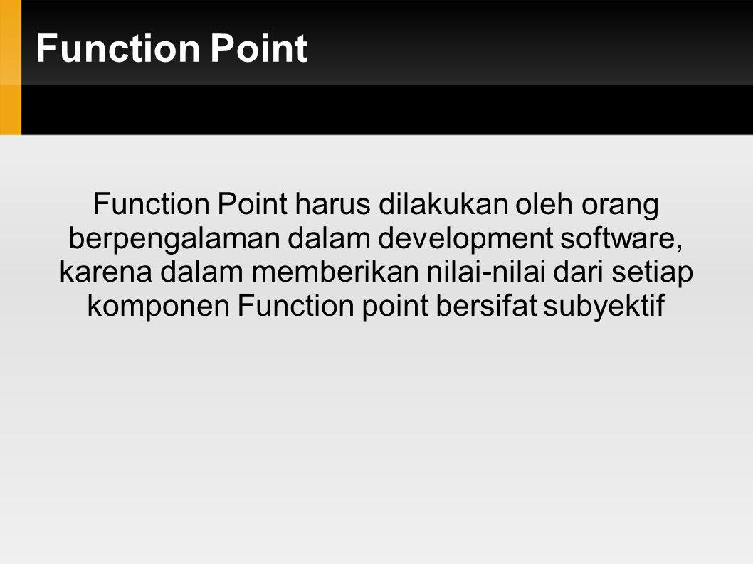 Function Point - FP Rumus FP FP = CFP x (0.65 + 0.01 x RCAF) Angka 0.65 dan 0.01 adalah ketetepan atau konstanta yang dibuat oleh Function Point Internasional User Group (IFPUG)