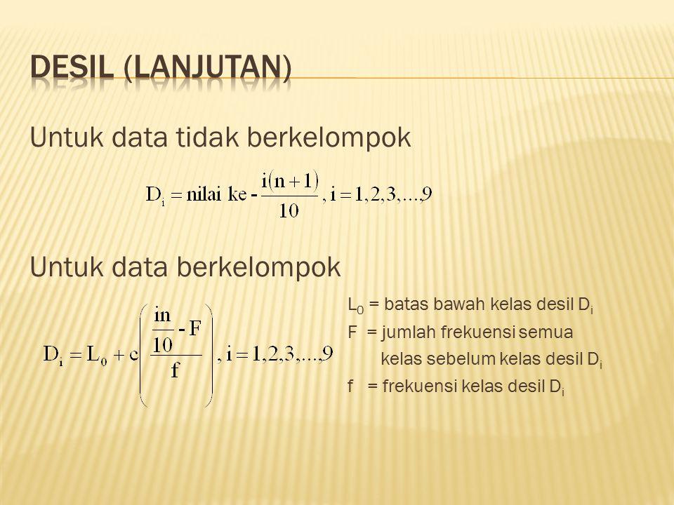 Untuk data tidak berkelompok Untuk data berkelompok L 0 = batas bawah kelas desil D i F = jumlah frekuensi semua kelas sebelum kelas desil D i f = fre