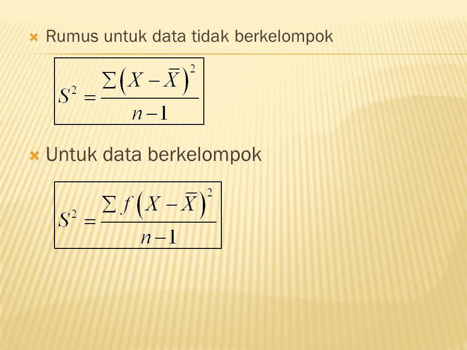  Rumus untuk data tidak berkelompok  Untuk data berkelompok