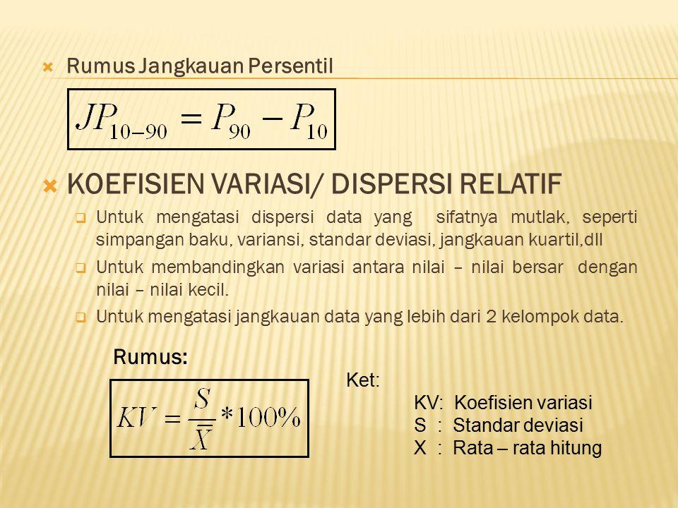  Rumus Jangkauan Persentil  KOEFISIEN VARIASI/ DISPERSI RELATIF  Untuk mengatasi dispersi data yang sifatnya mutlak, seperti simpangan baku, varian
