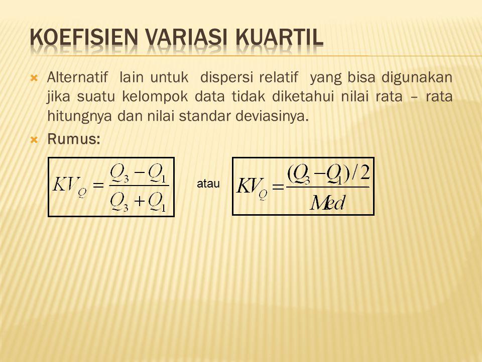  Alternatif lain untuk dispersi relatif yang bisa digunakan jika suatu kelompok data tidak diketahui nilai rata – rata hitungnya dan nilai standar de