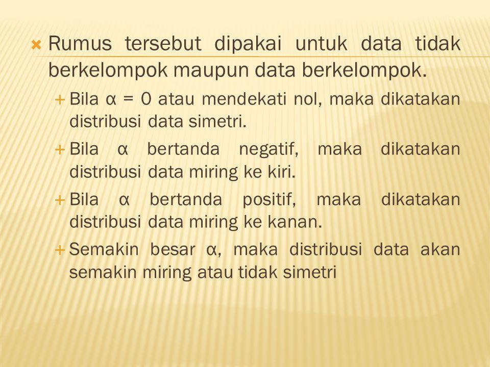  Rumus tersebut dipakai untuk data tidak berkelompok maupun data berkelompok.  Bila α = 0 atau mendekati nol, maka dikatakan distribusi data simetri