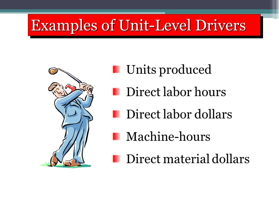 Examples of Unit-Level Drivers Units produced Direct labor hours Direct labor dollars Machine-hours Direct material dollars