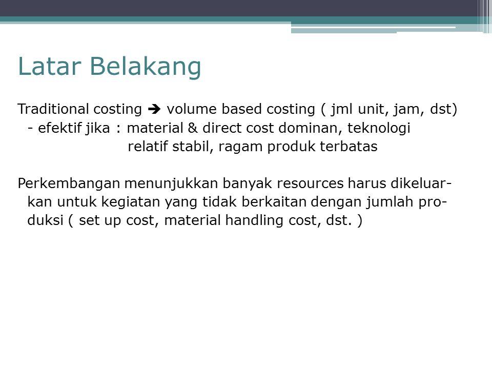 Latar Belakang Traditional costing  volume based costing ( jml unit, jam, dst) - efektif jika : material & direct cost dominan, teknologi relatif sta