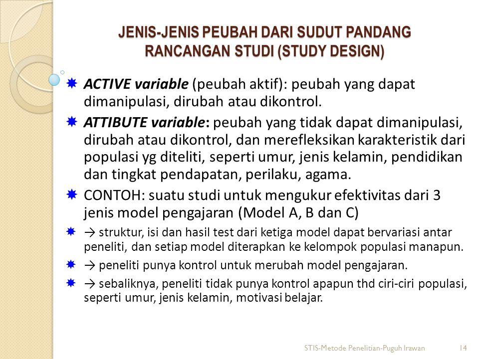 JENIS-JENIS PEUBAH DARI SUDUT PANDANG RANCANGAN STUDI (STUDY DESIGN)  ACTIVE variable (peubah aktif): peubah yang dapat dimanipulasi, dirubah atau di