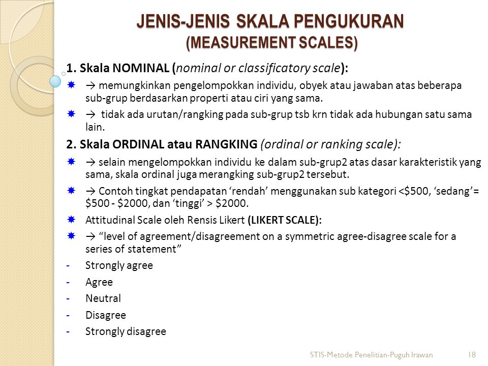 JENIS-JENIS SKALA PENGUKURAN (MEASUREMENT SCALES) 1.