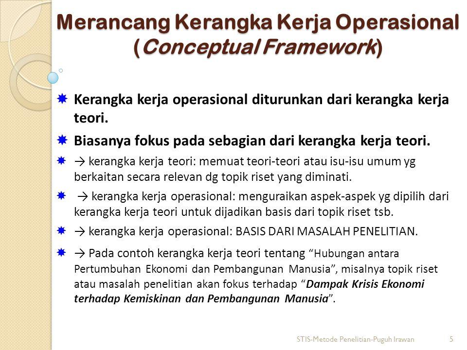 Merancang Kerangka Kerja Operasional (Conceptual Framework)  Kerangka kerja operasional diturunkan dari kerangka kerja teori.  Biasanya fokus pada s