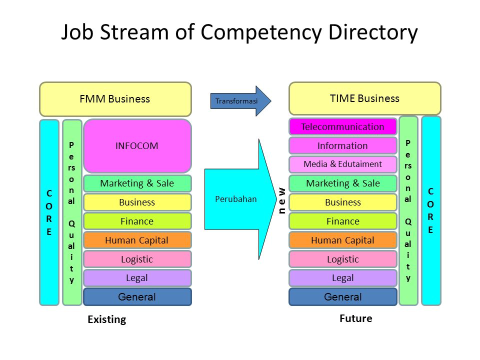 Job Stream of Competency Directory FMM Business CORECORE P e rs o n al Q u al i t y TIME Business Telecommunication Information Media & Edutaiment Marketing & Sale Business Finance Human Capital Logistic Legal General INFOCOM Marketing & Sale Business Finance Human Capital Logistic Legal General CORECORE P e rs o n al Q u al i t y Perubahan Existing Future n e w Transformasi