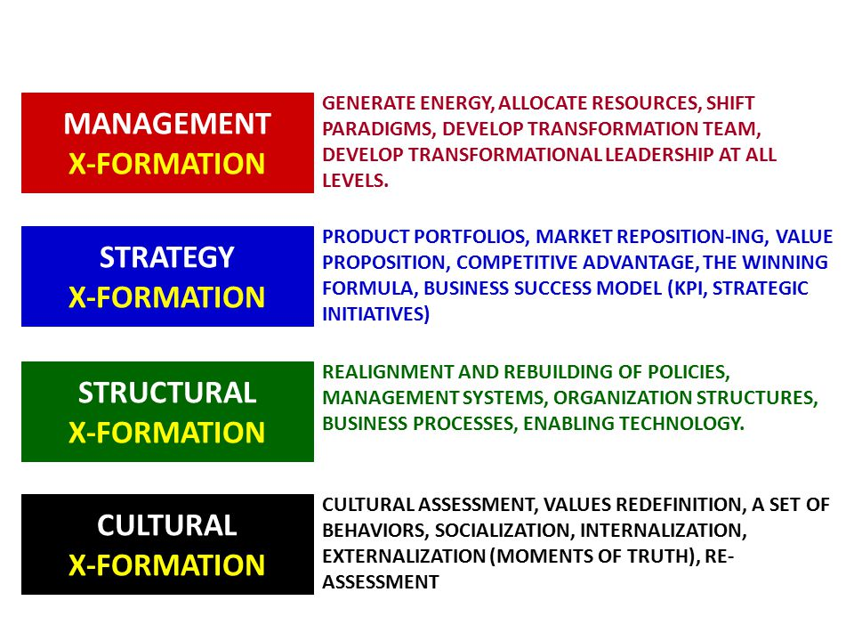 MANAGEMENT X-FORMATION GENERATE ENERGY, ALLOCATE RESOURCES, SHIFT PARADIGMS, DEVELOP TRANSFORMATION TEAM, DEVELOP TRANSFORMATIONAL LEADERSHIP AT ALL LEVELS.