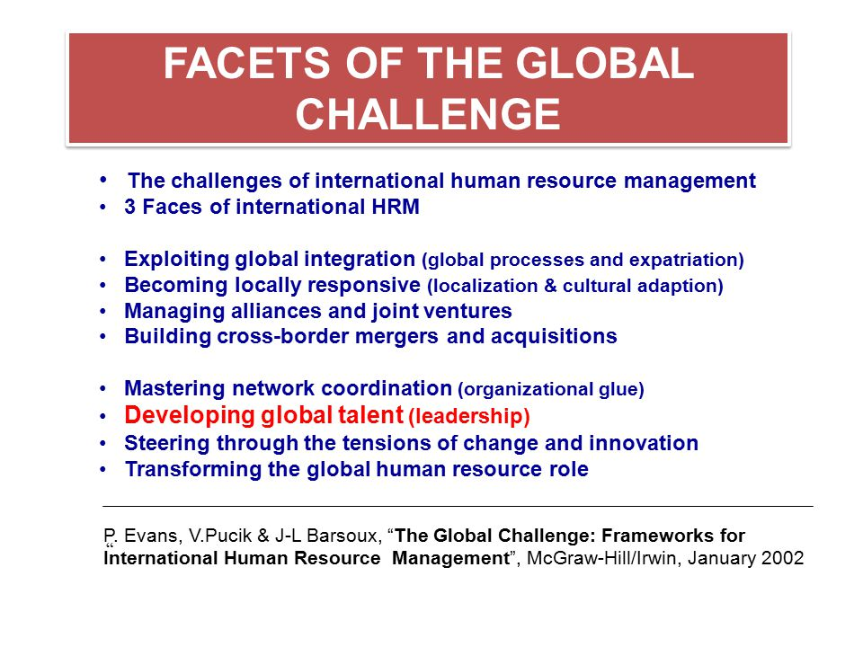 FACETS OF THE GLOBAL CHALLENGE The challenges of international human resource management 3 Faces of international HRM Exploiting global integration (g