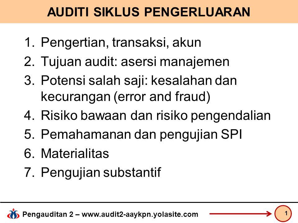 Pengauditan 2 – www.audit2-aaykpn.yolasite.com AUDITI SIKLUS PENGERLUARAN 1.Pengertian, transaksi, akun 2.Tujuan audit: asersi manajemen 3.Potensi salah saji: kesalahan dan kecurangan (error and fraud) 4.Risiko bawaan dan risiko pengendalian 5.Pemahamanan dan pengujian SPI 6.Materialitas 7.Pengujian substantif 1