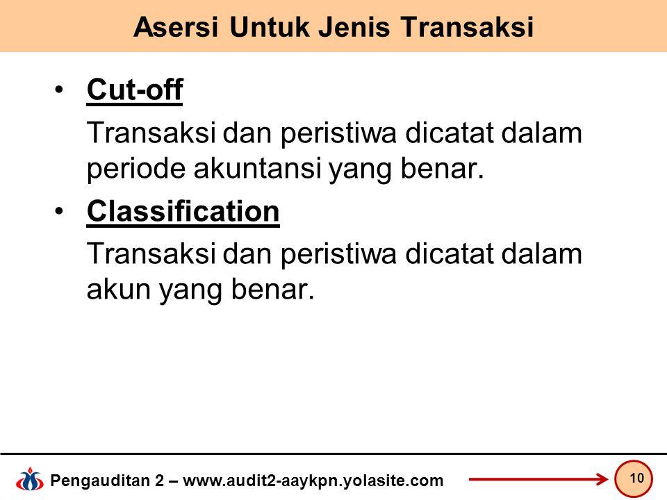 Pengauditan 2 – www.audit2-aaykpn.yolasite.com Asersi Untuk Jenis Transaksi Cut-off Transaksi dan peristiwa dicatat dalam periode akuntansi yang benar