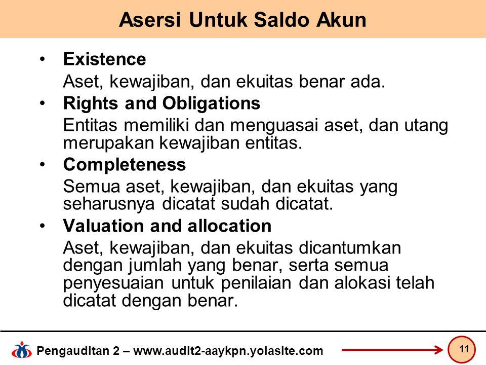 Pengauditan 2 – www.audit2-aaykpn.yolasite.com Asersi Untuk Saldo Akun Existence Aset, kewajiban, dan ekuitas benar ada. Rights and Obligations Entita