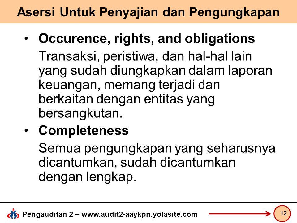 Pengauditan 2 – www.audit2-aaykpn.yolasite.com Asersi Untuk Penyajian dan Pengungkapan Occurence, rights, and obligations Transaksi, peristiwa, dan ha