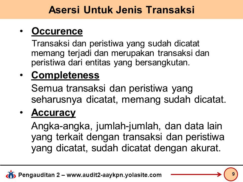 Pengauditan 2 – www.audit2-aaykpn.yolasite.com Asersi Untuk Jenis Transaksi Occurence Transaksi dan peristiwa yang sudah dicatat memang terjadi dan merupakan transaksi dan peristiwa dari entitas yang bersangkutan.
