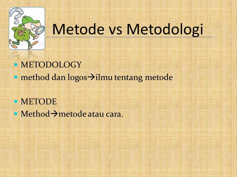 Metode vs Metodologi METODOLOGY method dan logos  ilmu tentang metode METODE Method  metode atau cara.