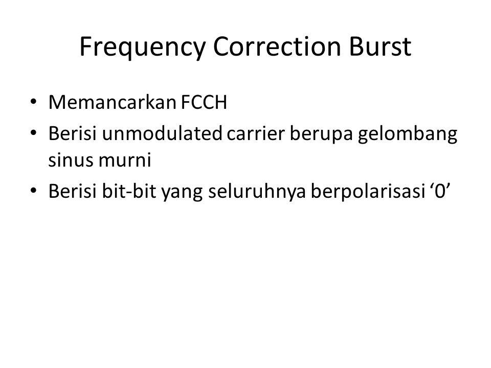 Frequency Correction Burst Memancarkan FCCH Berisi unmodulated carrier berupa gelombang sinus murni Berisi bit-bit yang seluruhnya berpolarisasi '0'