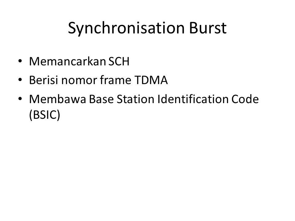Synchronisation Burst Memancarkan SCH Berisi nomor frame TDMA Membawa Base Station Identification Code (BSIC)