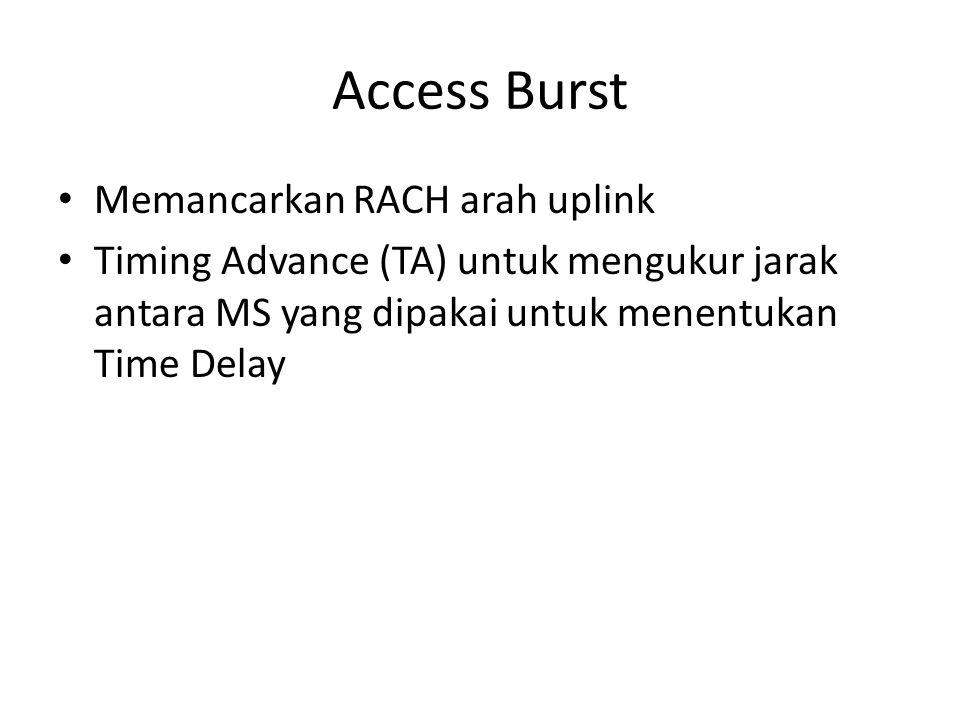 Access Burst Memancarkan RACH arah uplink Timing Advance (TA) untuk mengukur jarak antara MS yang dipakai untuk menentukan Time Delay