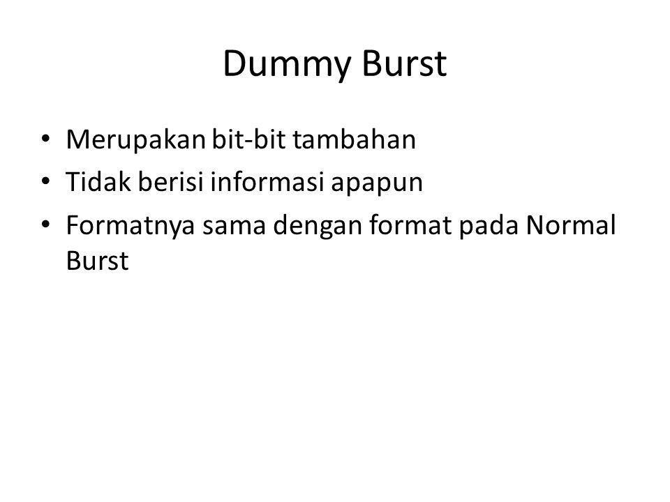 Dummy Burst Merupakan bit-bit tambahan Tidak berisi informasi apapun Formatnya sama dengan format pada Normal Burst