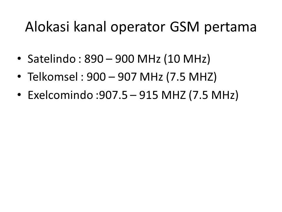 Alokasi kanal operator GSM pertama Satelindo : 890 – 900 MHz (10 MHz) Telkomsel : 900 – 907 MHz (7.5 MHZ) Exelcomindo :907.5 – 915 MHZ (7.5 MHz)