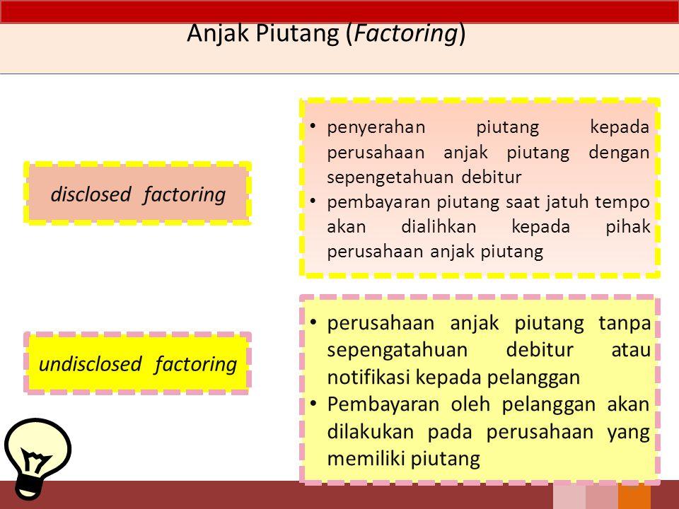 Anjak Piutang (Factoring) 89 bank atau lembaga keuangan bukan bank (multifinance) membayar biaya jasa dan bunga kepada perusahaan anjak piutang Disclo