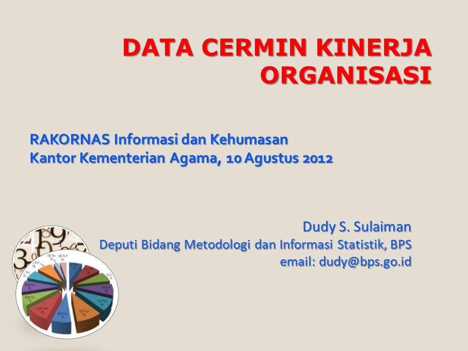 DATA CERMIN KINERJA ORGANISASI Dudy S. Sulaiman Deputi Bidang Metodologi dan Informasi Statistik, BPS email: dudy@bps.go.id RAKORNAS Informasi dan Keh