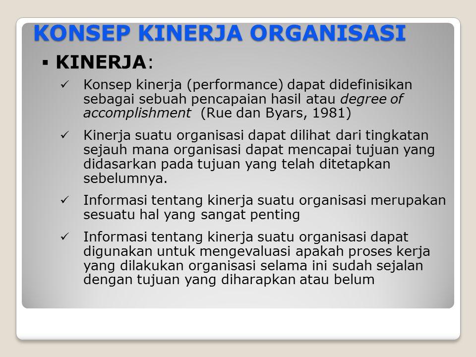 KONSEP KINERJA ORGANISASI  KINERJA: Konsep kinerja (performance) dapat didefinisikan sebagai sebuah pencapaian hasil atau degree of accomplishment (R