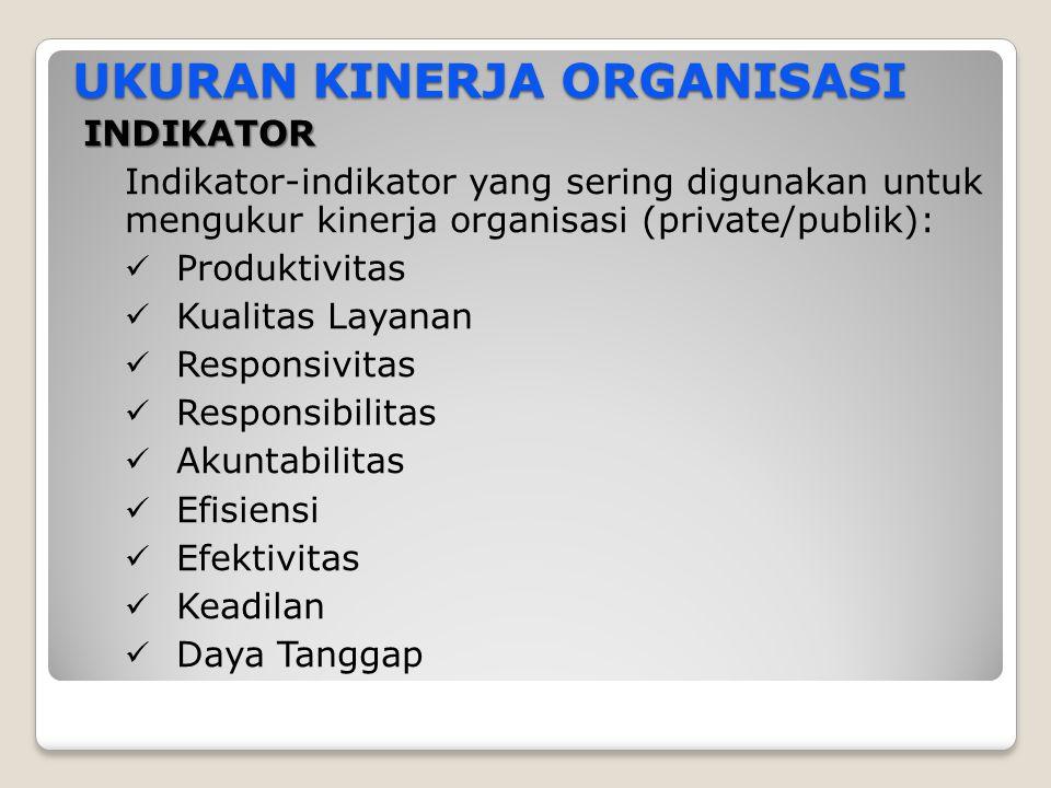 UKURAN KINERJA ORGANISASI INDIKATOR Indikator-indikator yang sering digunakan untuk mengukur kinerja organisasi (private/publik): Produktivitas Kualit
