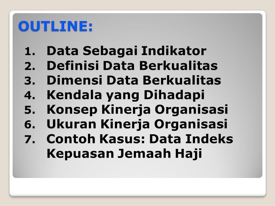 OUTLINE: 1. Data Sebagai Indikator 2. Definisi Data Berkualitas 3. Dimensi Data Berkualitas 4. Kendala yang Dihadapi 5. Konsep Kinerja Organisasi 6. U