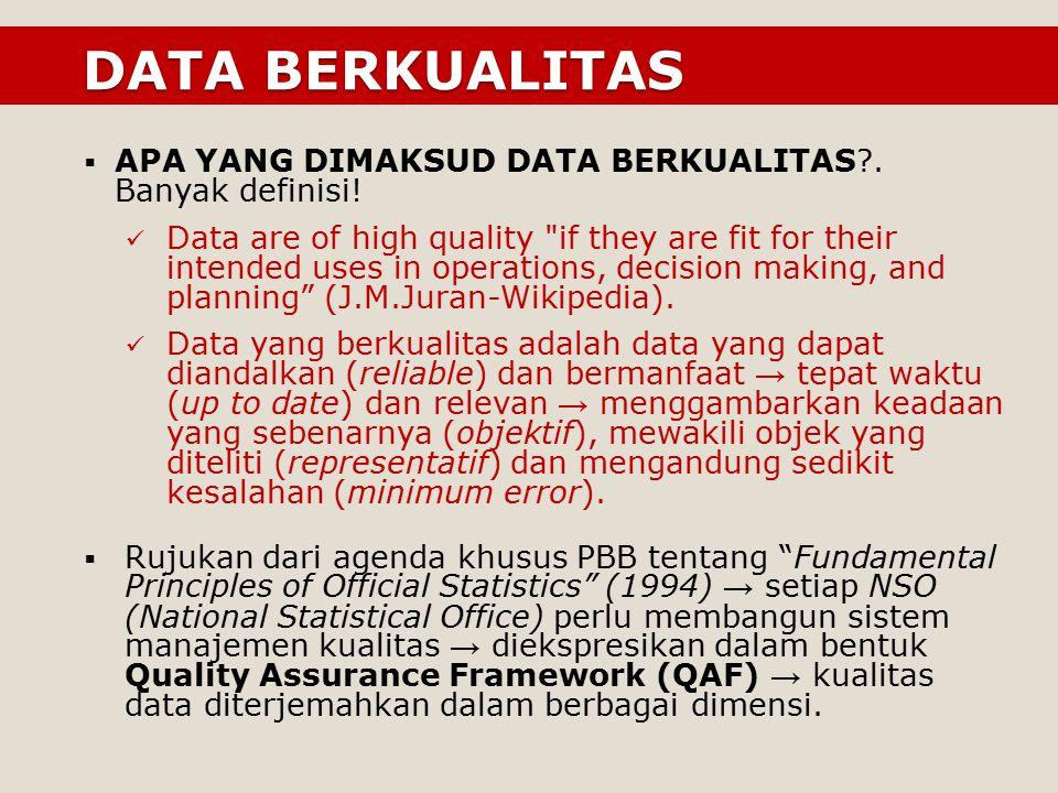 DATA BERKUALITAS DATA BERKUALITAS  APA YANG DIMAKSUD DATA BERKUALITAS?. Banyak definisi! Data are of high quality