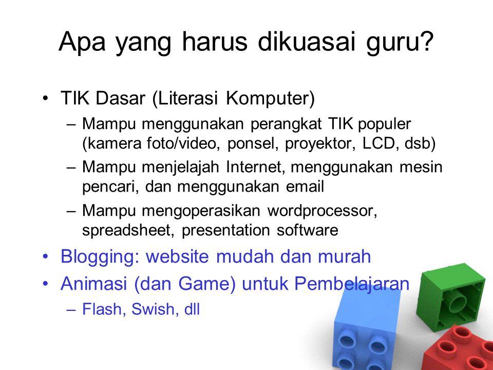 Apa yang harus dikuasai guru? TIK Dasar (Literasi Komputer) –Mampu menggunakan perangkat TIK populer (kamera foto/video, ponsel, proyektor, LCD, dsb)