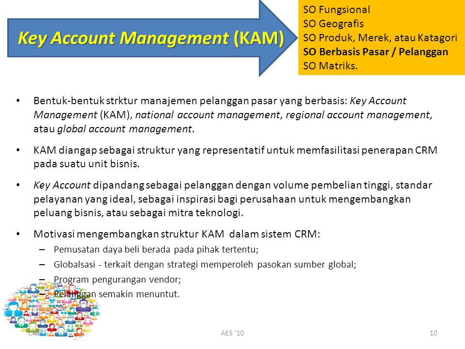 Key Account Management (KAM) Bentuk-bentuk strktur manajemen pelanggan pasar yang berbasis: Key Account Management (KAM), national account management,