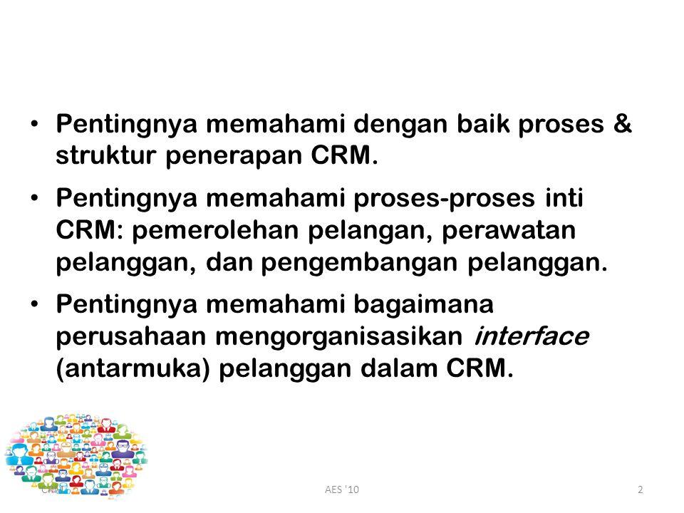 Pentingnya memahami dengan baik proses & struktur penerapan CRM.