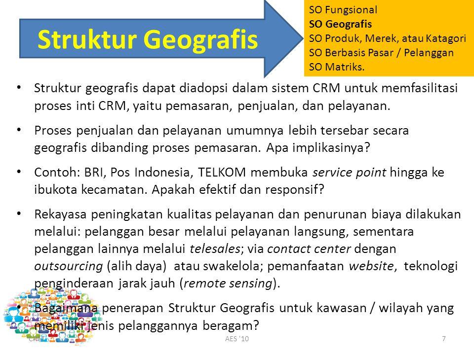 Struktur Geografis Struktur geografis dapat diadopsi dalam sistem CRM untuk memfasilitasi proses inti CRM, yaitu pemasaran, penjualan, dan pelayanan.