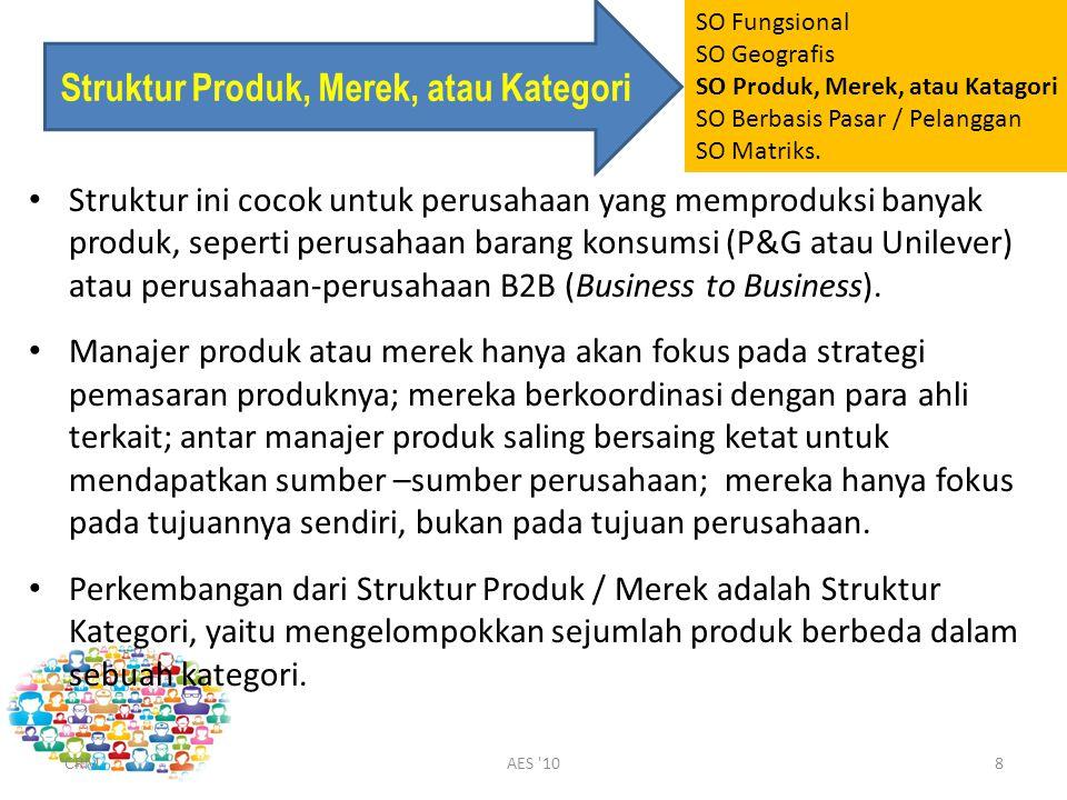 Struktur Produk, Merek, atau Kategori Struktur ini cocok untuk perusahaan yang memproduksi banyak produk, seperti perusahaan barang konsumsi (P&G atau Unilever) atau perusahaan-perusahaan B2B (Business to Business).