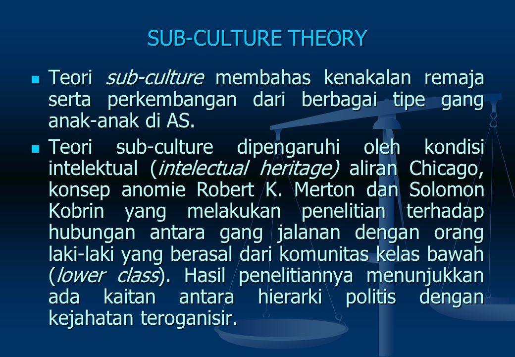 CULTURE CONFLICT THEORY (Thorsten Sellin)  Premis 1: Bertemunya dua budaya besar.  Konflik budaya dapat terjadi apabila ada benturan aturan pada bat
