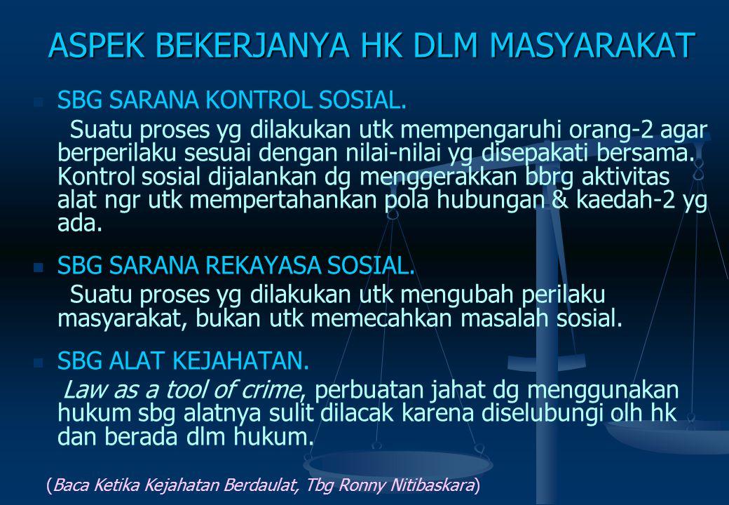 PERKEMBANGAN HUKUM DLM MASYARAKAT Fungsi Sosial : sbg himpunan moralitas & wahana utk mencapai cita2 sosial (Durkheim). Masa itu hk dianggap satu-satu