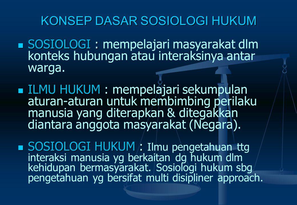 KONSEP DASAR SOSIOLOGI HUKUM SOSIOLOGI : SOSIOLOGI : mempelajari masyarakat dlm konteks hubungan atau interaksinya antar warga.
