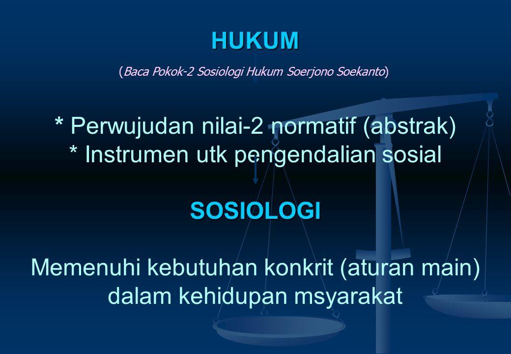 KONSEP DASAR SOSIOLOGI HUKUM SOSIOLOGI : SOSIOLOGI : mempelajari masyarakat dlm konteks hubungan atau interaksinya antar warga. ILMU HUKUM : ILMU HUKU