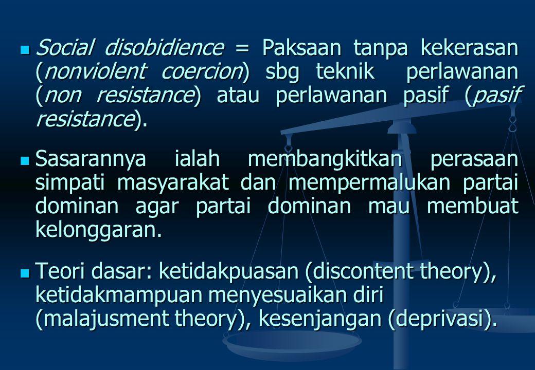 Pembangkangan sipil bisa mencapai tuntutan yang dikehendaki apabila memiliki disiplin diri yg kuat dari para pelaku, dan tdk mengarah ke tindakan keke