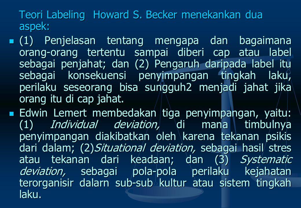 TEORI LABELING (Micholowsky) Premis-premis teori Labeling sebagai berikut : Premis-premis teori Labeling sebagai berikut : 1. Kejahatan merupakan kual